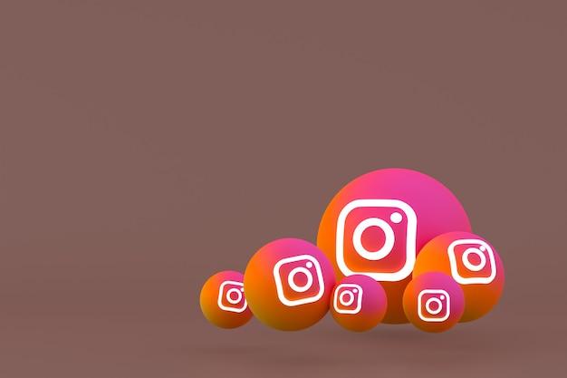Ícone do instagram definido renderização em 3d em fundo marrom