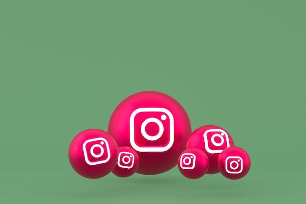 Ícone do instagram definido renderização em fundo verde