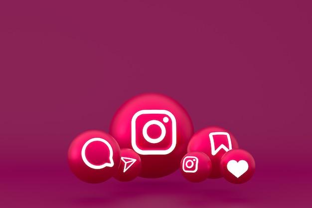 Ícone do instagram definido renderização em fundo vermelho