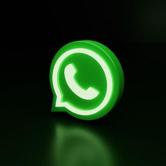Ícone do logotipo 3d do whatsapp brilham em alta qualidade e renderização