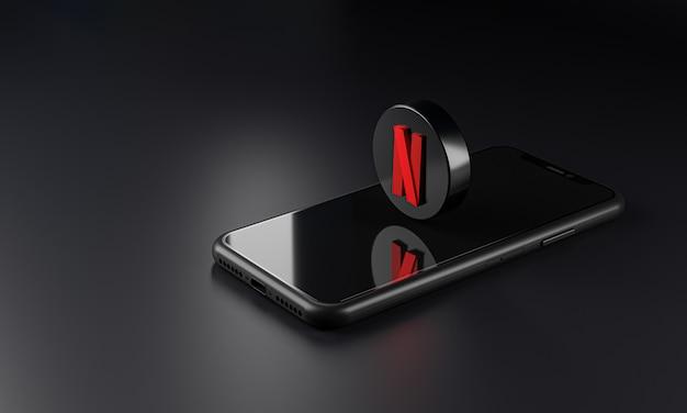 Ícone do logotipo da netflix em smartphone, renderização em 3d