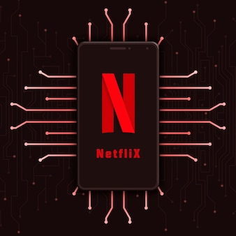 Ícone do logotipo da netflix na tela do telefone no fundo de tecnologia 3d