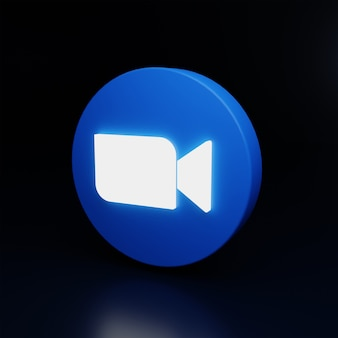 Ícone do logotipo de zoom 3d brilhar em alta qualidade