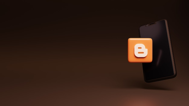 Ícone do logotipo do blogger sobre o smartphone renderizando anúncios em mídia social em 3d