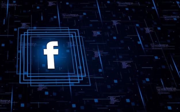 Ícone do logotipo do facebook no fundo tecnológico com elementos de código