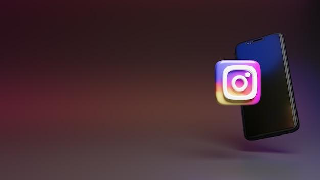 Ícone do logotipo do instagram com a renderização 3d do smartphone do ícone de mídia social