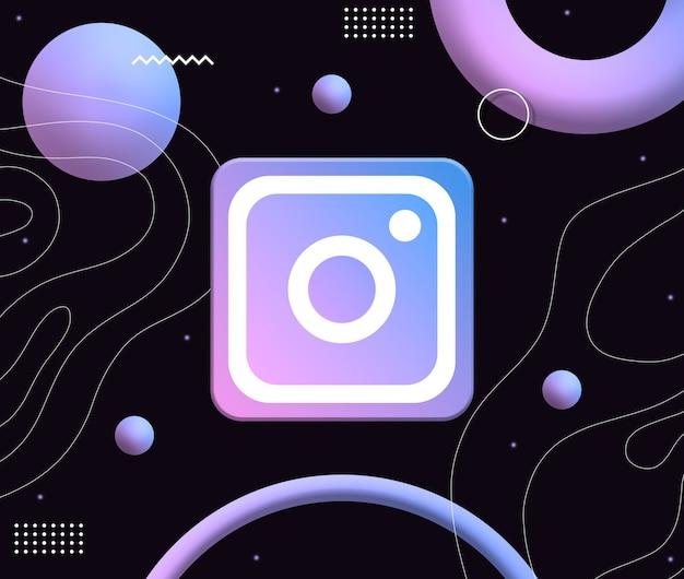 Ícone do logotipo do instagram no fundo de formas estéticas de néon 3d