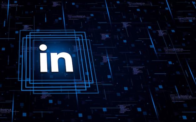 Ícone do logotipo do linkedin no fundo tecnológico com elementos de código