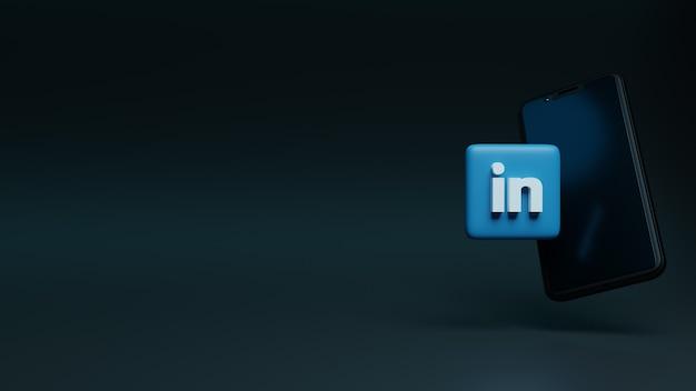 Ícone do logotipo do linkedin sobre a renderização 3d de anúncios de mídia social do smartphone