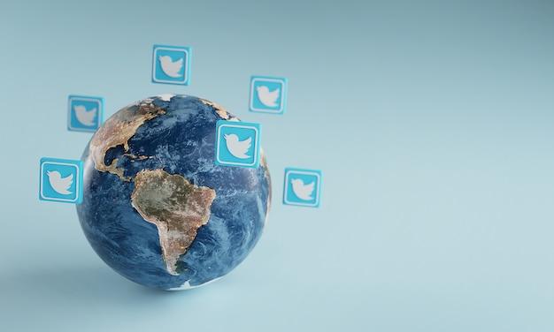 Ícone do logotipo do twitter em torno da terra. conceito de aplicativo popular.