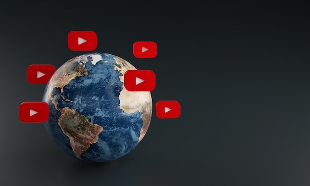 Ícone do logotipo do youtube em torno da terra. conceito de aplicativo popular.