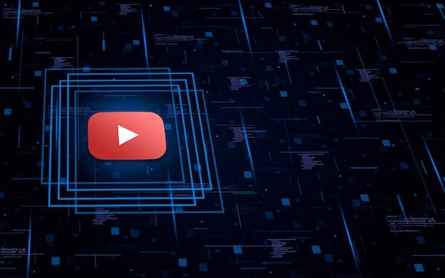 Ícone do logotipo do youtube no fundo tecnológico com elementos de código
