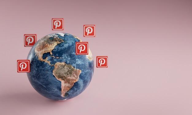 Ícone do logotipo pinterest em torno da terra. conceito de aplicativo popular.