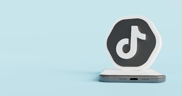 Ícone do logotipo sobre renderização 3d do smartphone Foto Premium