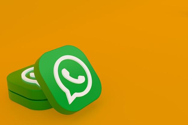 Ícone do logotipo verde do aplicativo whatsapp renderização 3d em fundo amarelo