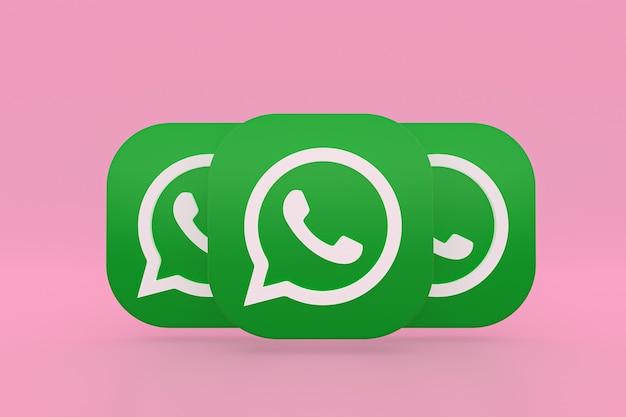 Ícone do logotipo verde do aplicativo whatsapp renderização 3d em fundo rosa