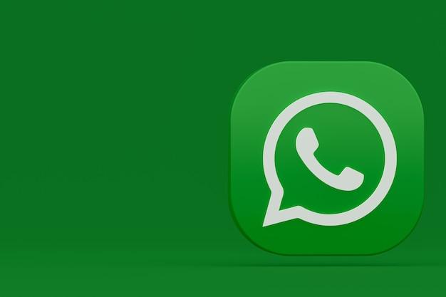 Ícone do logotipo verde do aplicativo whatsapp renderização em 3d sobre fundo verde