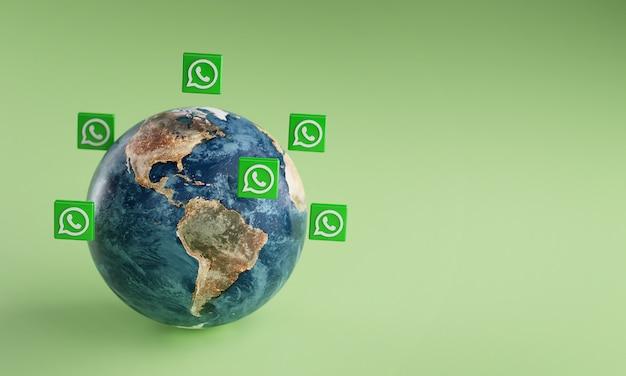 Ícone do logotipo whatsapp em torno da terra. conceito de aplicativo popular.
