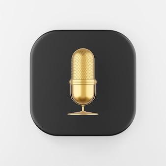 Ícone do microfone de ouro. botão chave quadrado preto de renderização 3d, elemento interface ui ux.