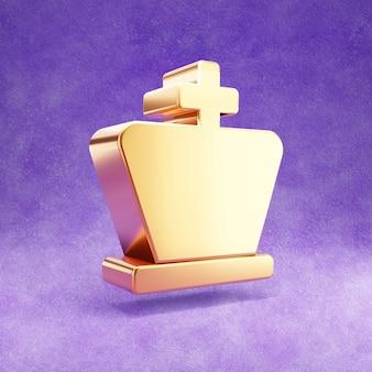Ícone do rei do xadrez isolado em veludo violeta