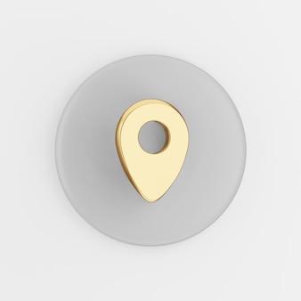 Ícone do símbolo ouro de localização. botão chave redondo cinza de renderização 3d, elemento interface ui ux.