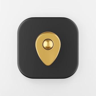 Ícone do símbolo ouro de localização. chave do botão quadrado preto de renderização 3d, elemento interface ui ux.