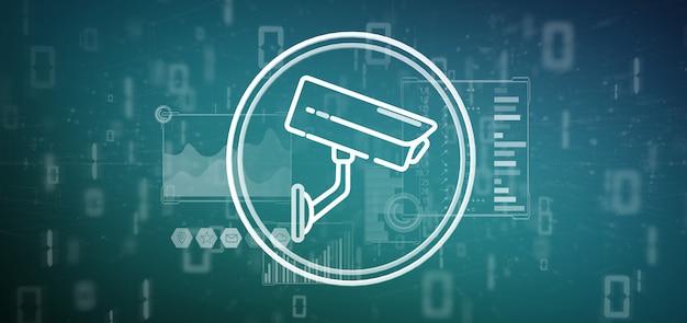 Ícone do sistema de câmera de segurança e dados estatísticos - renderização em 3d