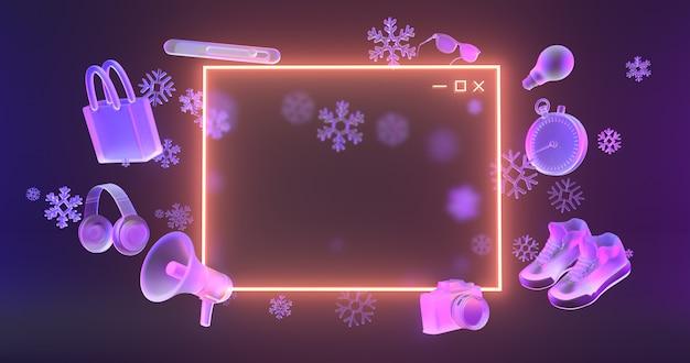 Ícone do site luz de néon brilhante e objetos de compras 3d com ícones de neve.