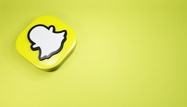Ícone do snapchat 3d render ilustração de mídia social azul simples e limpa