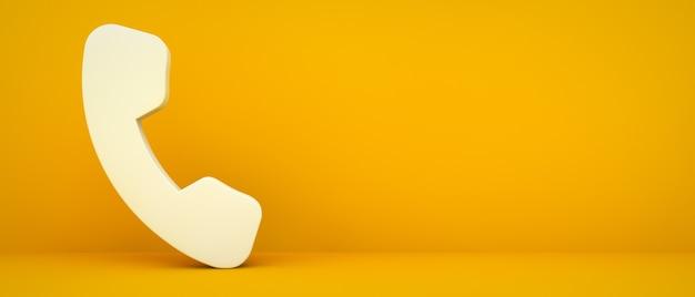 Ícone do telefone na renderização 3d de fundo amarelo