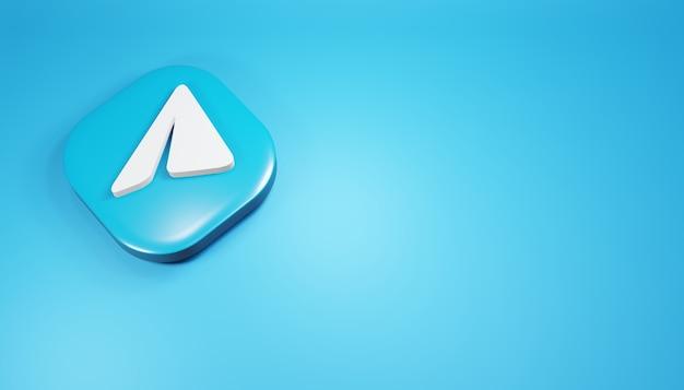 Ícone do telegrama 3d render ilustração de mídia social azul simples e limpa