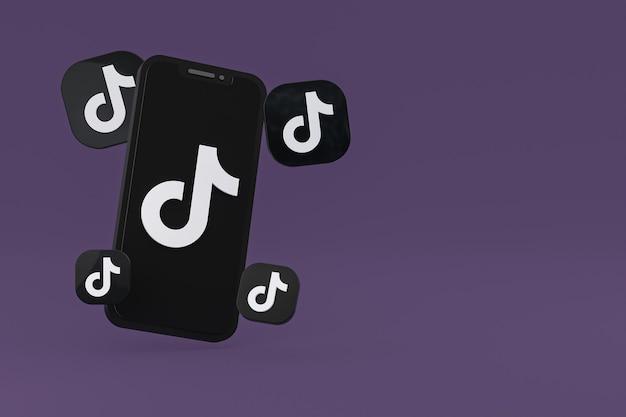 Ícone do tiktok na tela do celular renderização em 3d