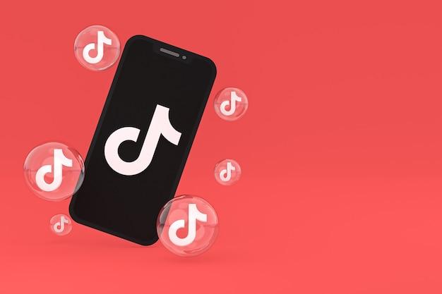 Ícone do tiktok na tela do smartphone ou renderização 3d do celular