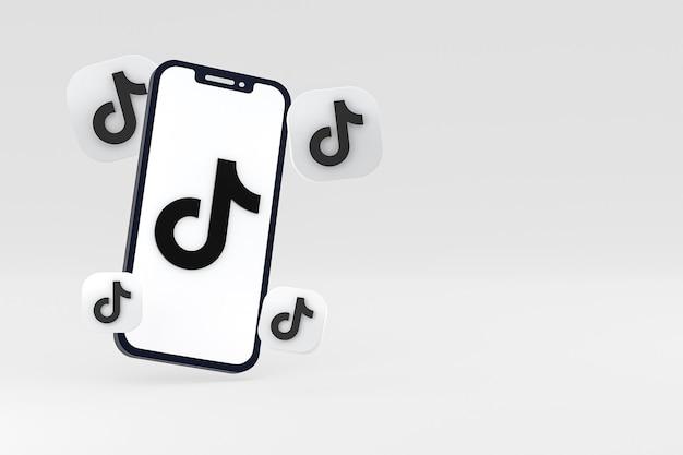 Ícone do tiktok na tela do smartphone ou renderização 3d do telefone móvel