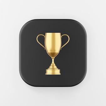 Ícone do troféu de ouro do vencedor. chave do botão quadrado preto de renderização 3d, elemento interface ui ux.