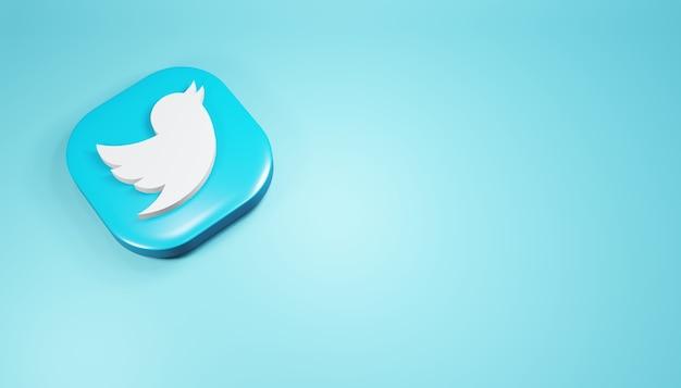 Ícone do twitter 3d render ilustração de mídia social azul simples e limpa