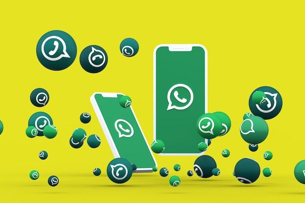 Ícone do whatsapp na tela do smartphone ou celular e reações do whatsapp