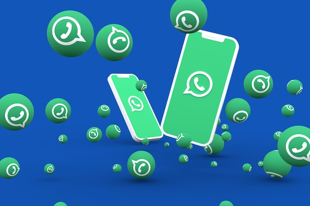 Ícone do whatsapp na tela do smartphone ou celular e reações do whatsapp