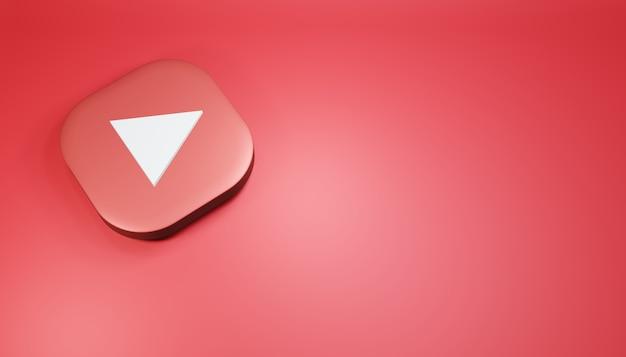 Ícone do youtube 3d render ilustração de mídia social vermelha limpa e simples