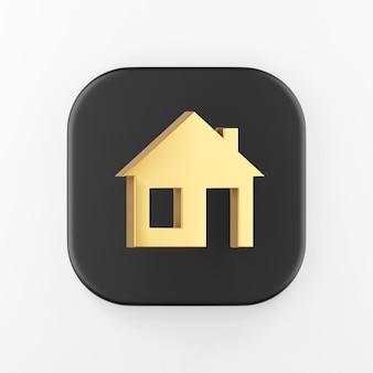 Ícone dourado da casa plana. botão chave quadrado preto de renderização 3d, elemento interface ui ux.