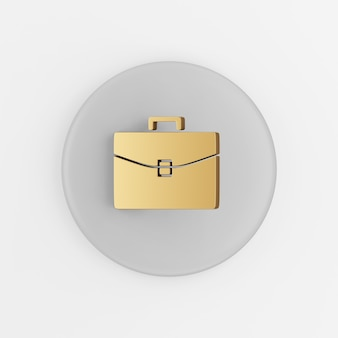 Ícone dourado da pasta de negócios. botão chave redondo cinza de renderização 3d, elemento interface ui ux.