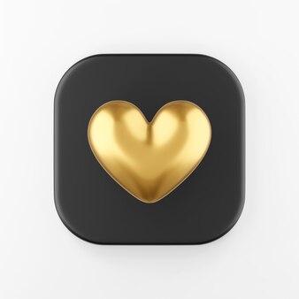 Ícone dourado de um coração realista. botão chave quadrado preto de renderização 3d, elemento interface ui ux.