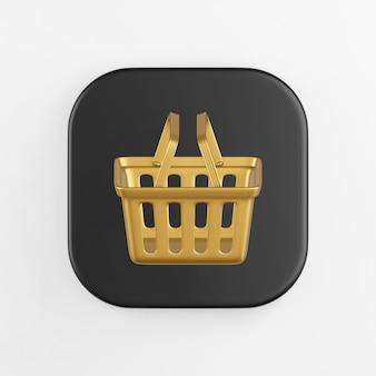 Ícone dourado do cesto de compras do supermercado. renderização 3d do botão de chave quadrado preto, elemento interface ui ux.