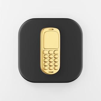 Ícone dourado do telefone móvel. botão chave quadrado preto de renderização 3d, elemento interface ui ux.