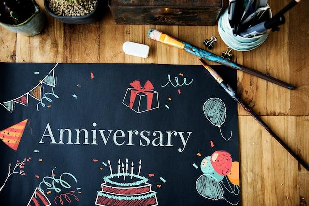 Ícone e palavra de eventos surpresa de festa de aniversário de celebração