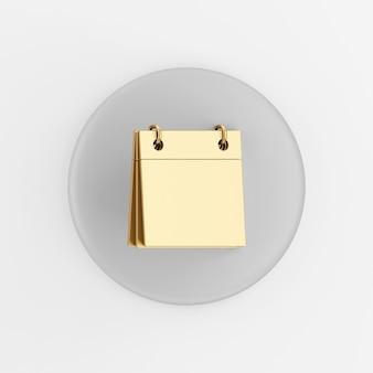 Ícone em branco do calendário dourado. botão chave redondo cinza de renderização 3d, elemento interface ui ux.