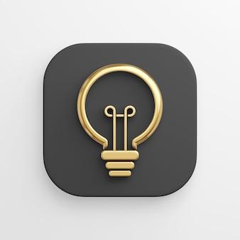 Ícone estilizado de contorno linear de lâmpada dourada, botão quadrado preto. renderização 3d.