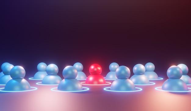Ícone humano vermelho brilhando entre outras pessoas. conceito de sucesso de liderança e negócios, renderização 3d