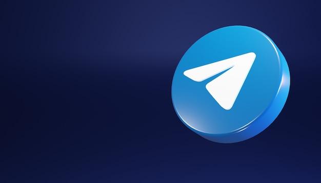 Ícone redondo do telegrama renderização 3d limpa e simples ilustração de mídia social escura