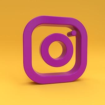Ícone roxo do instagram na renderização 3d amarela